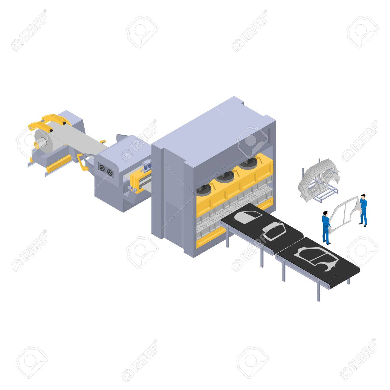 Production Of Cars, Factory Line For The Production Of Car Body ...
