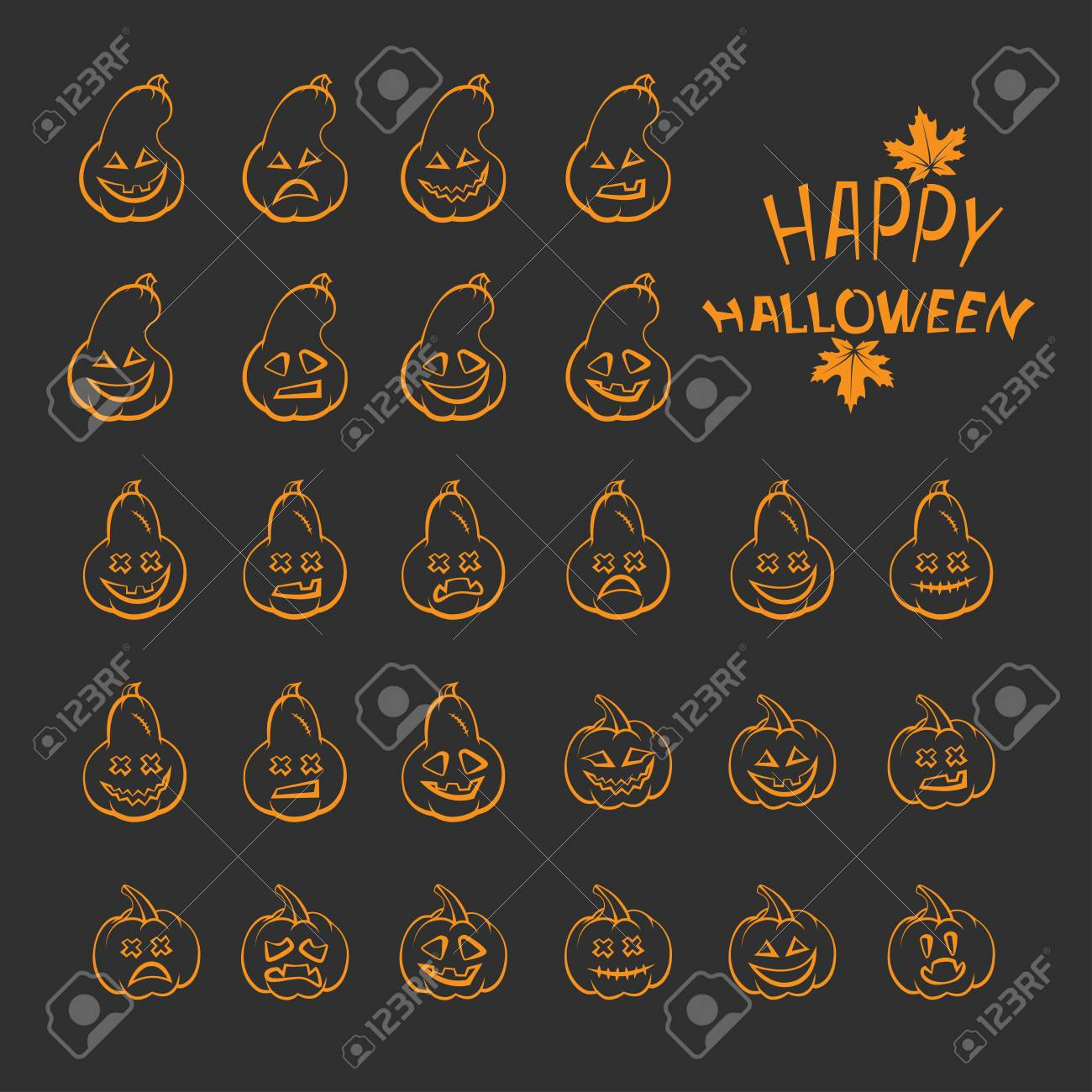 Set Of Pumpkin For Celebrating Halloween Emotions And Faces