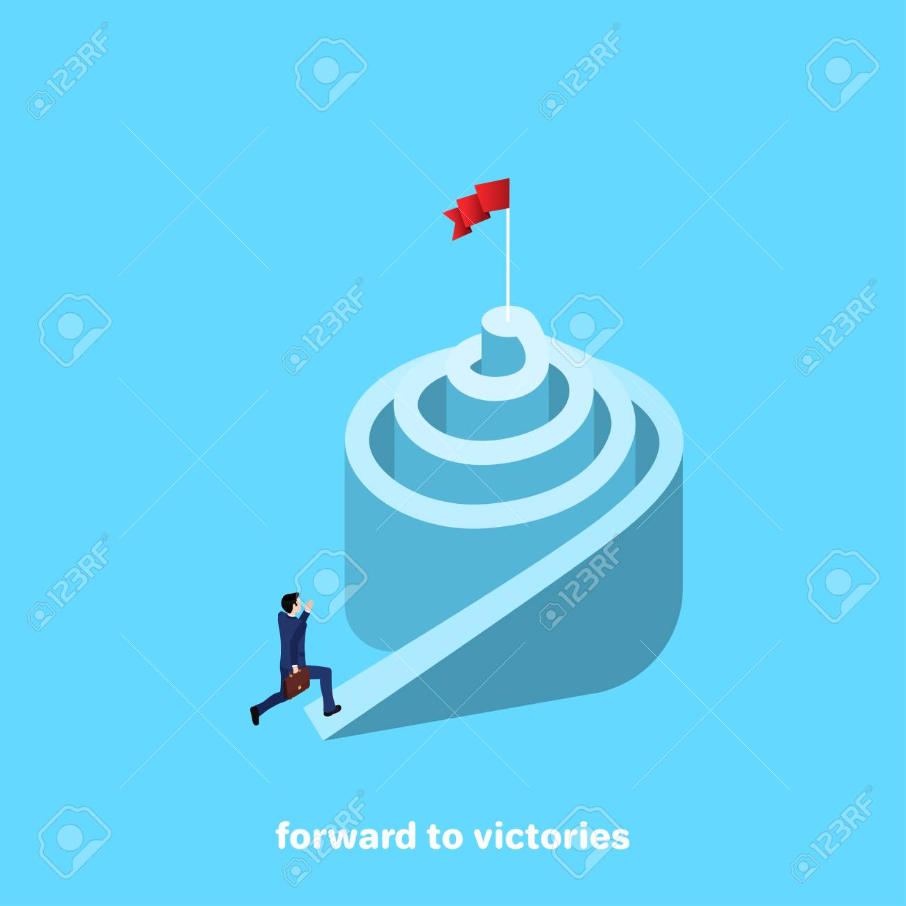 A Man In A Business Suit Is Running Up A Spiral An Isometric
