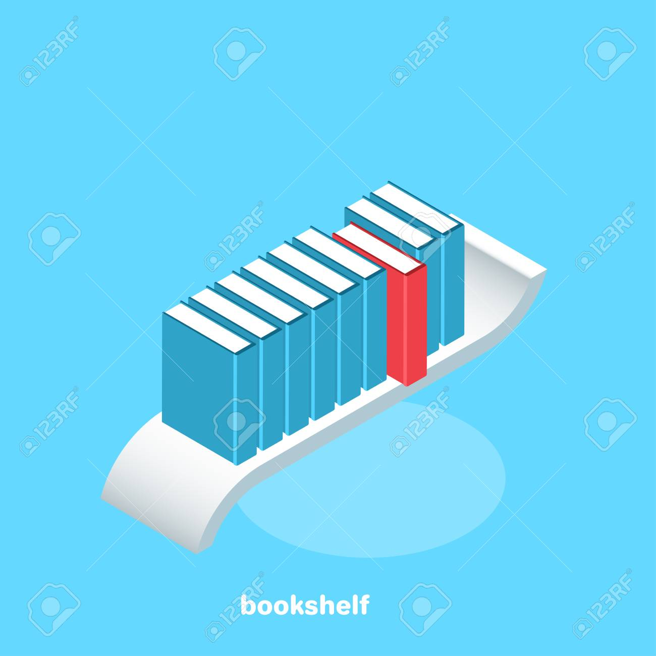 Books Of Blue Color On The Shelf And One Special Book Of Red ...