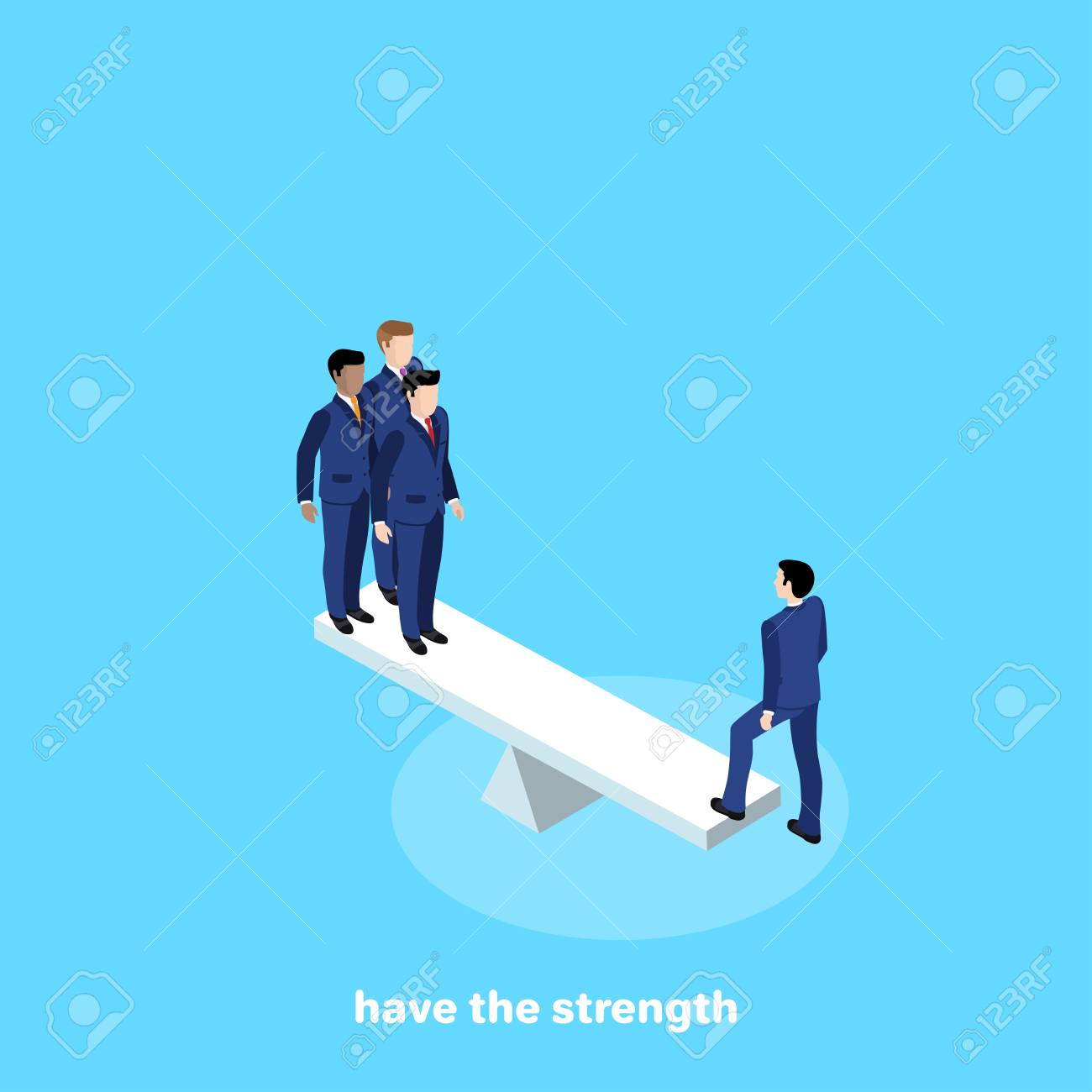 men in business suits stand on scales, isometric image - 109811027