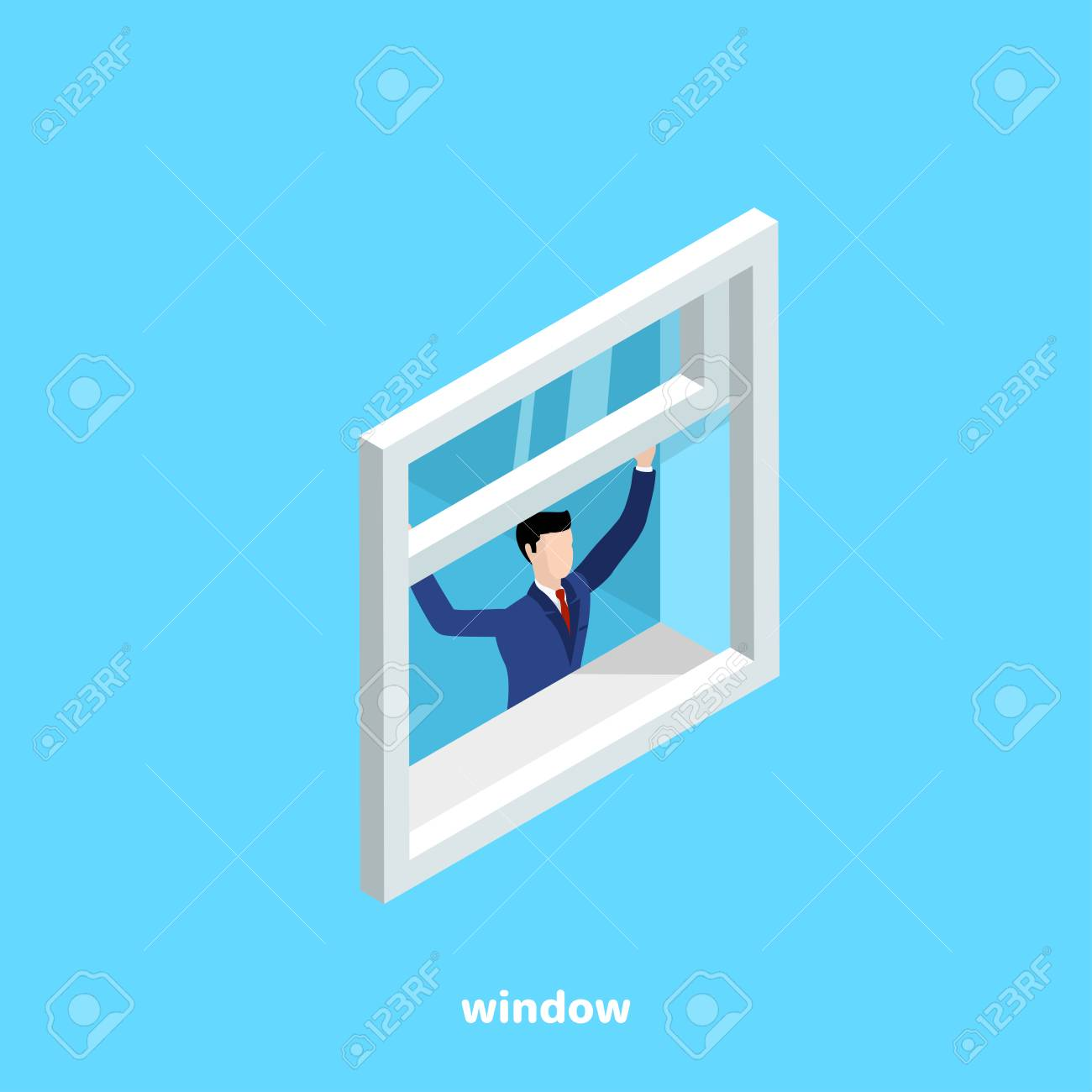 a man in a business suit opens a window on a blue background, an isometric image - 116068642