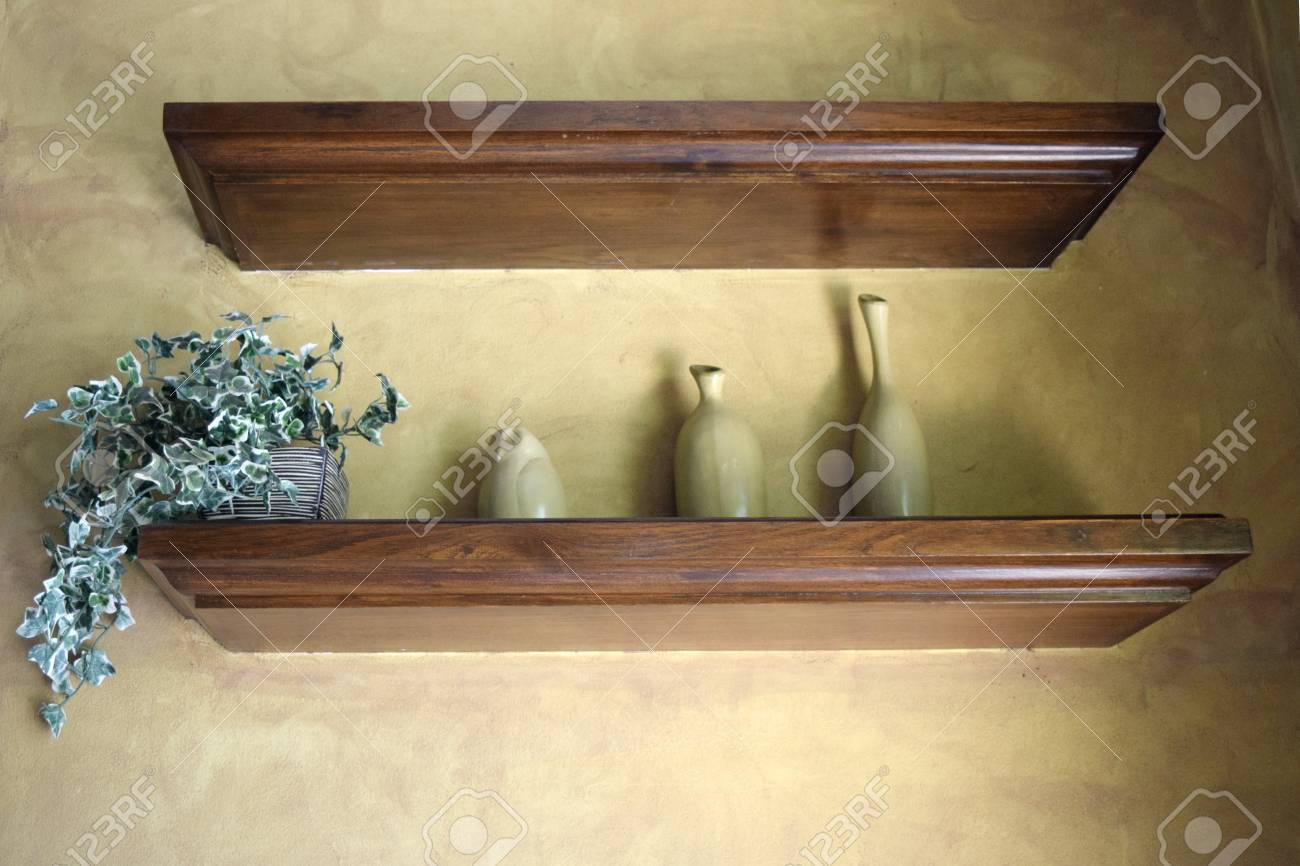 Decorative Vases On Wooden Shelf Stock Photo, Picture And Royalty ...