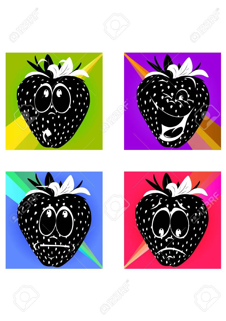 silhouette strawberry colorfully Stock Vector - 23895839