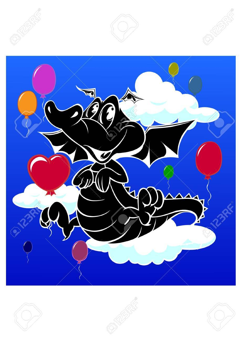 silhouette of baby dragon Stock Vector - 25510362