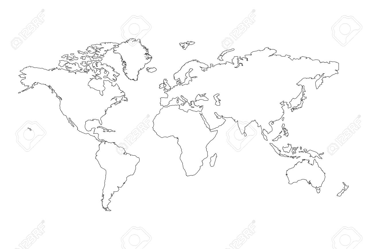 The World Map Outline Background Stock Photo Picture And Royalty - Free world map outline