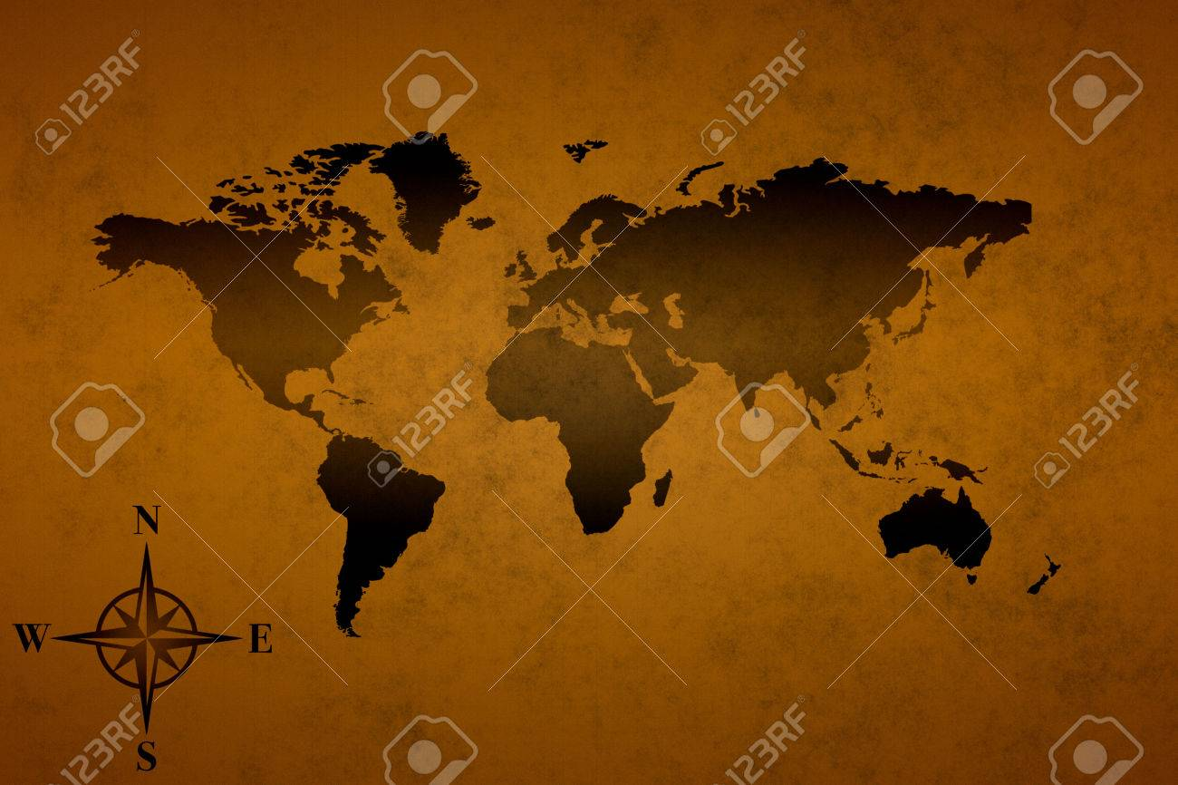 Pirate World Map.The Old Pirate World Map Background Image Stock Photo Picture And