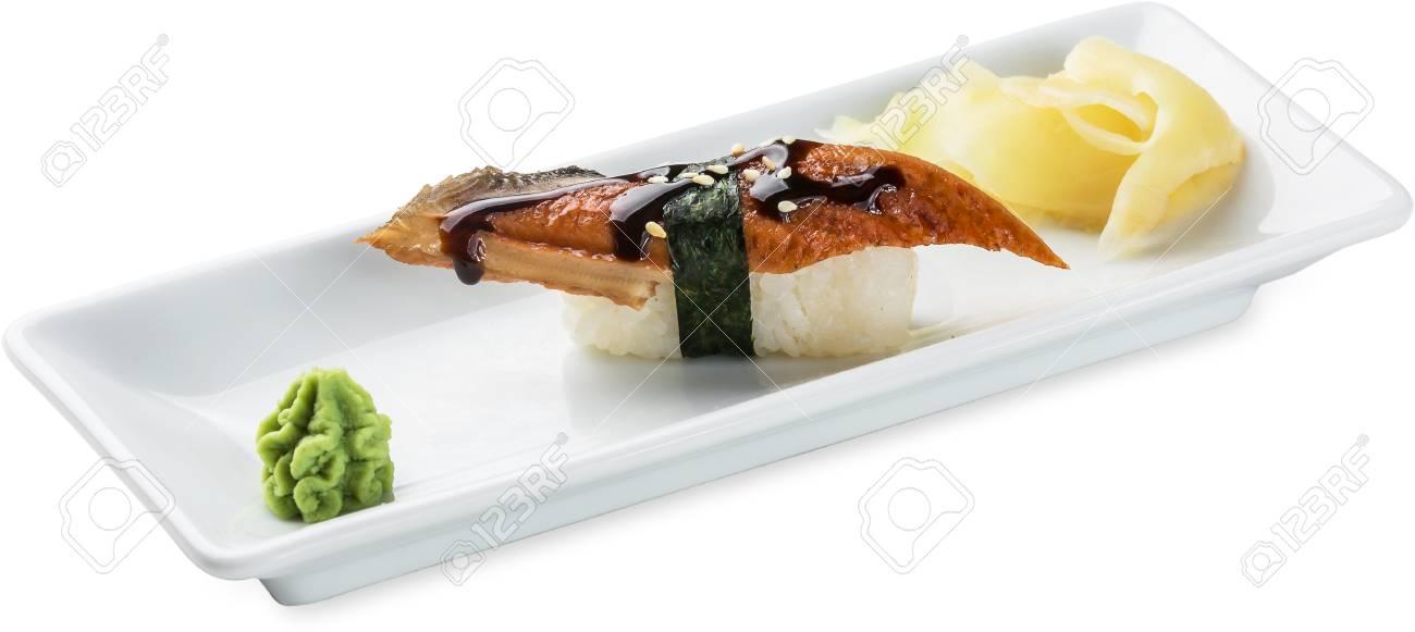 Archivio Fotografico , Sushi con l\u0027anguilla. Isolato su priorità bassa  bianca