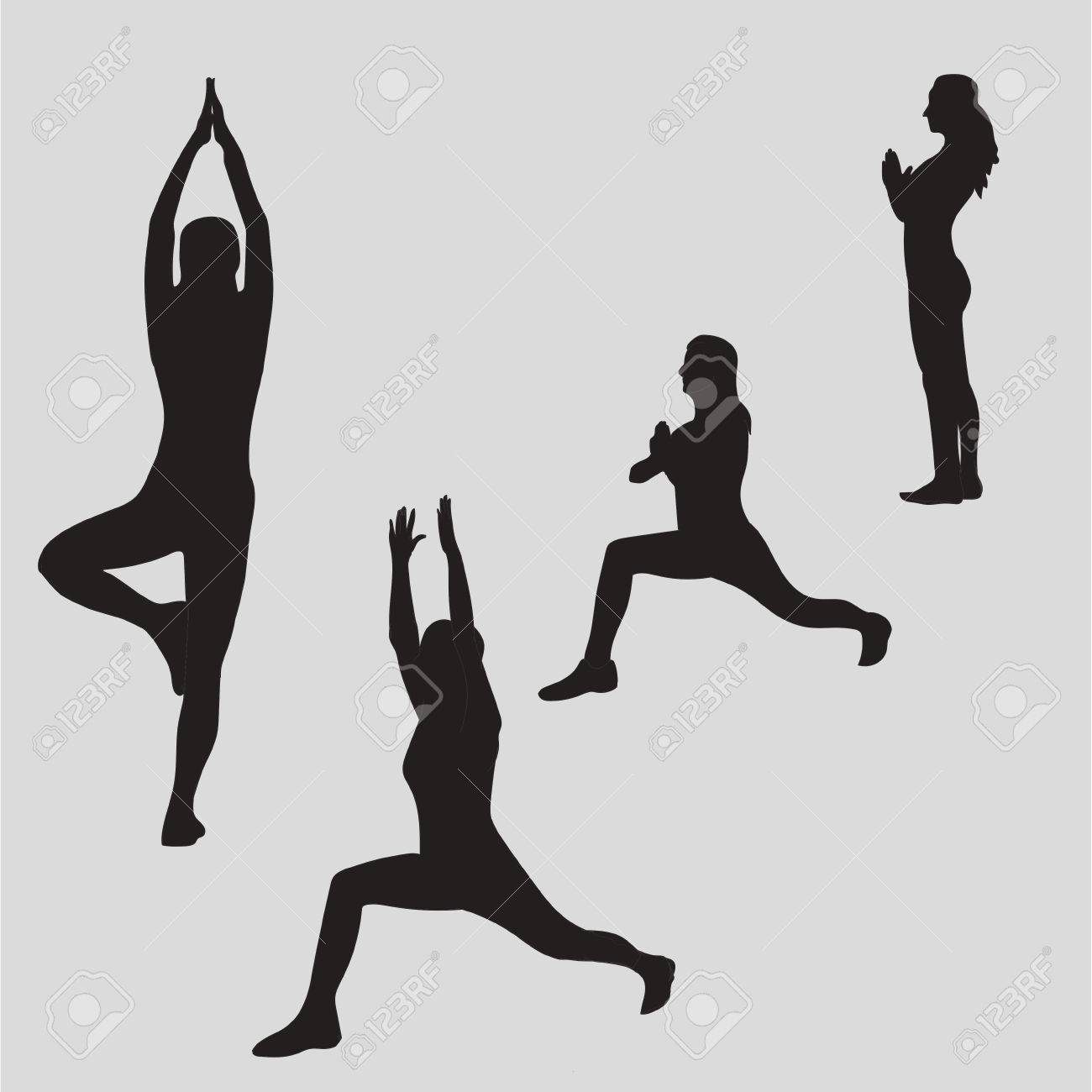 Woman Meditating In Different Yoga Poses Silhouette Zen Meditation Peace