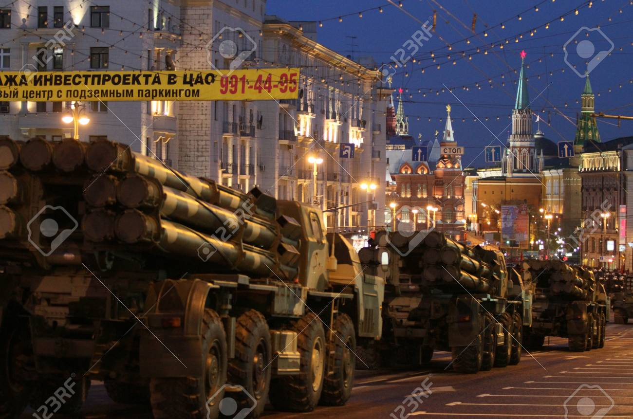 MOSCOW - APRIL 29: Russian army military vehicles in downtown Moscow on Tverskaya Street near Red Square, during a rehearsal for the Victory Day military parade, April 29, 2010 in Moscow, Russia. Stock Photo - 7193511