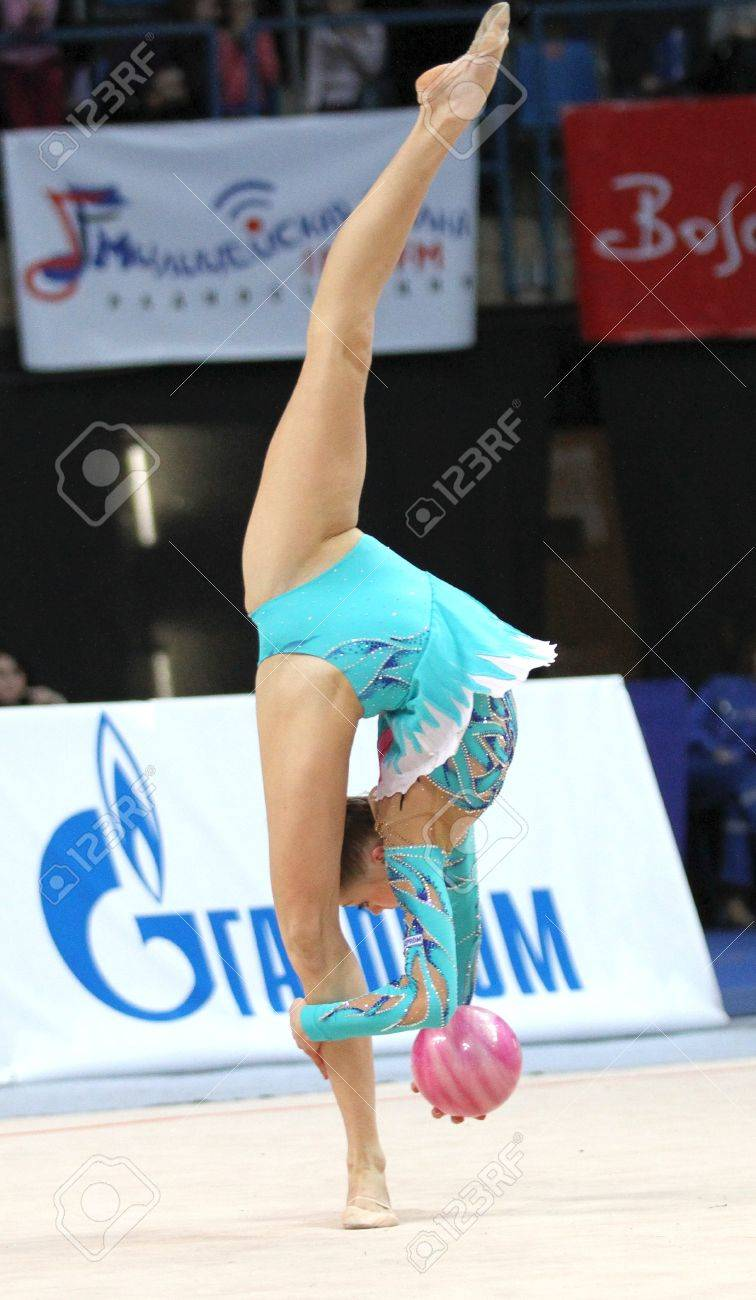 An unidentified participant in action at International Tournament in Rhythmic Gymnastics Grand Prix Cup champions Gazprom, February 20, 2010 in Moscow, Russia. Stock Photo - 8868624