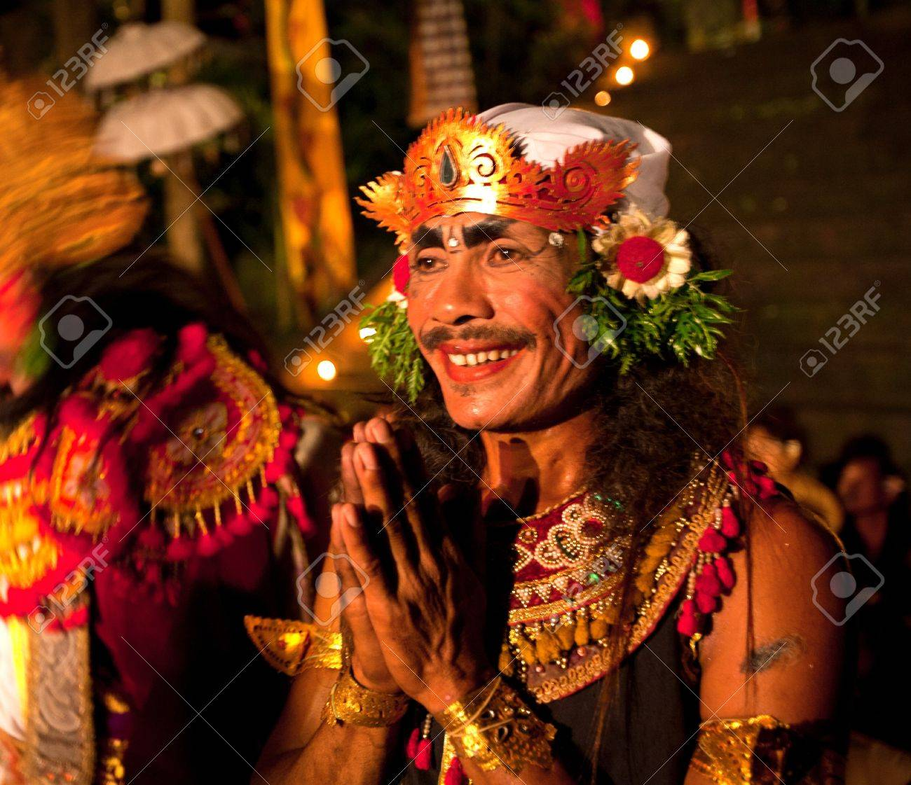 BALI, INDONESIA - APRIL 4: Presentation of traditional balinese Women Kecak Fire Dance show on April 4, 2012 on Bali, Indonesia. Kecak (also known as Ramayana Monkey Chant) is very popular cultural show on Bali. Stock Photo - 13062680