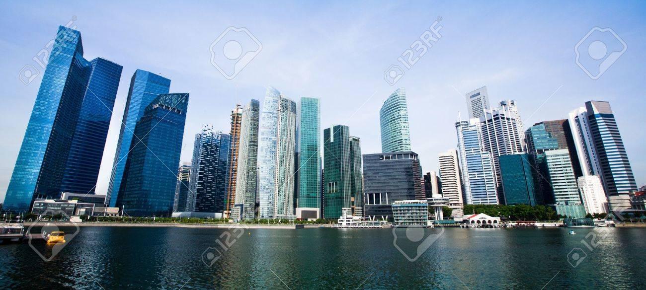 Wide Panorama of Singapore City Stock Photo - 13699222
