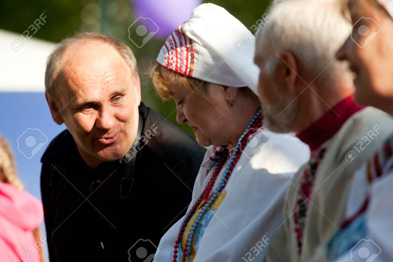 VINNICI, LENINGRAD REGION, RUSSIA - JUNE 10: Local people during celebrate the annual holiday Vepsian national culture Tree of Life (vepssk.Elo-pu), June 10, 2012 in the village Vinnici, Russia. Stock Photo - 14339152