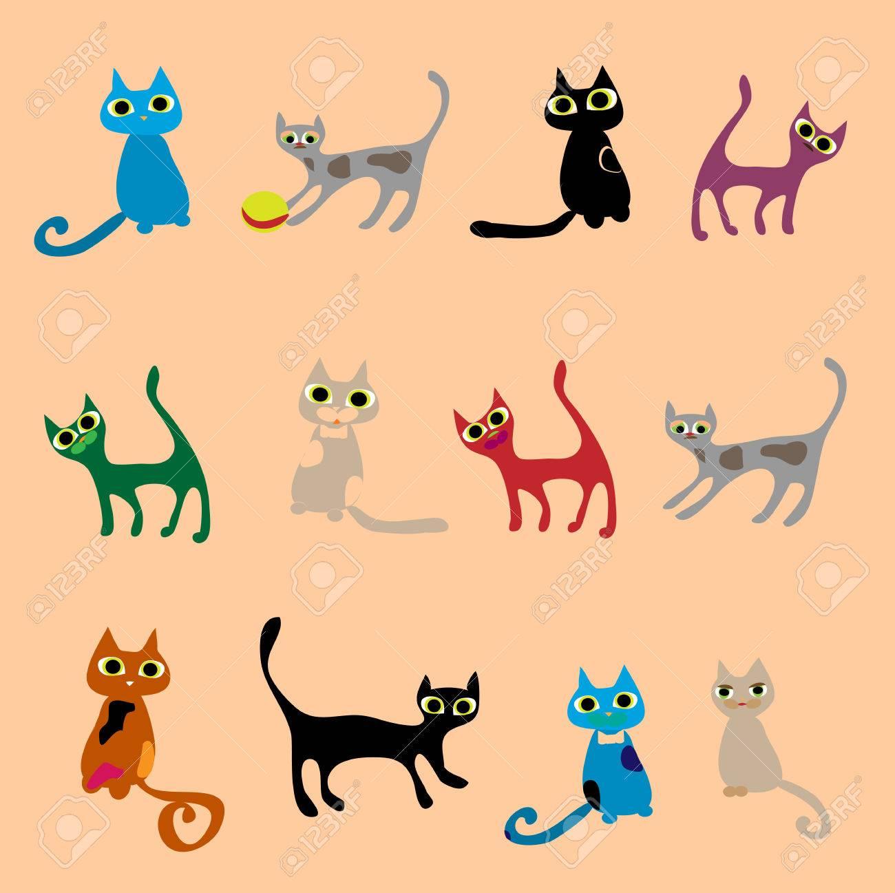 Cats. Vector set in gentle tones. Stock Vector - 22405746