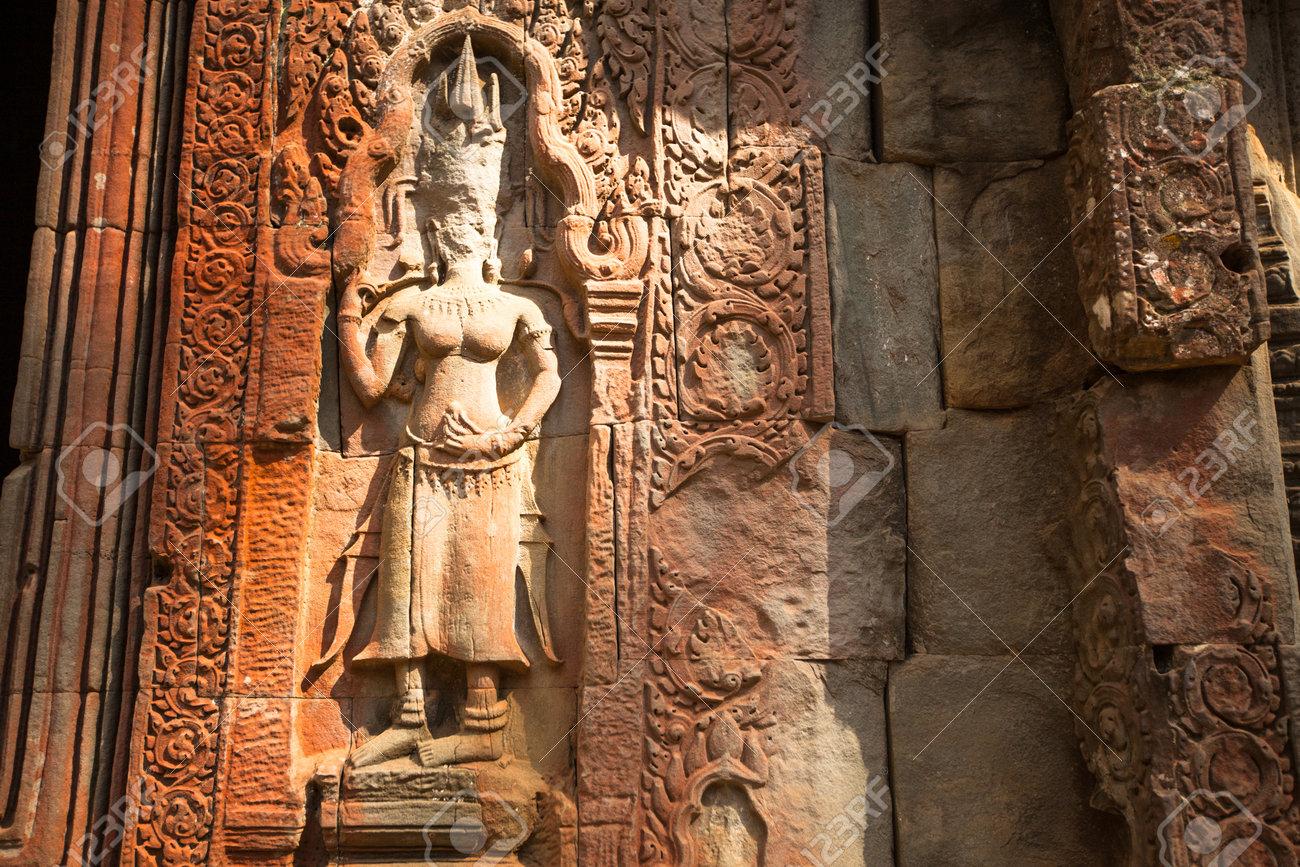 Siem reap cambodia dec apsaras khmer stone carving in