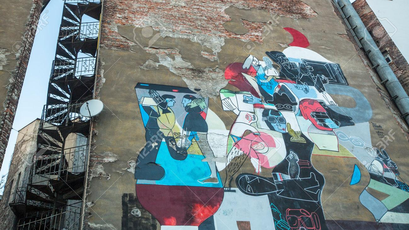 Cracovie Pologne 13 Février 2015 Peinture Murale Street Art Par L Artiste Non Identifié Dans Le Quartier Juif De Kazimierz Depuis Le 1818 Années