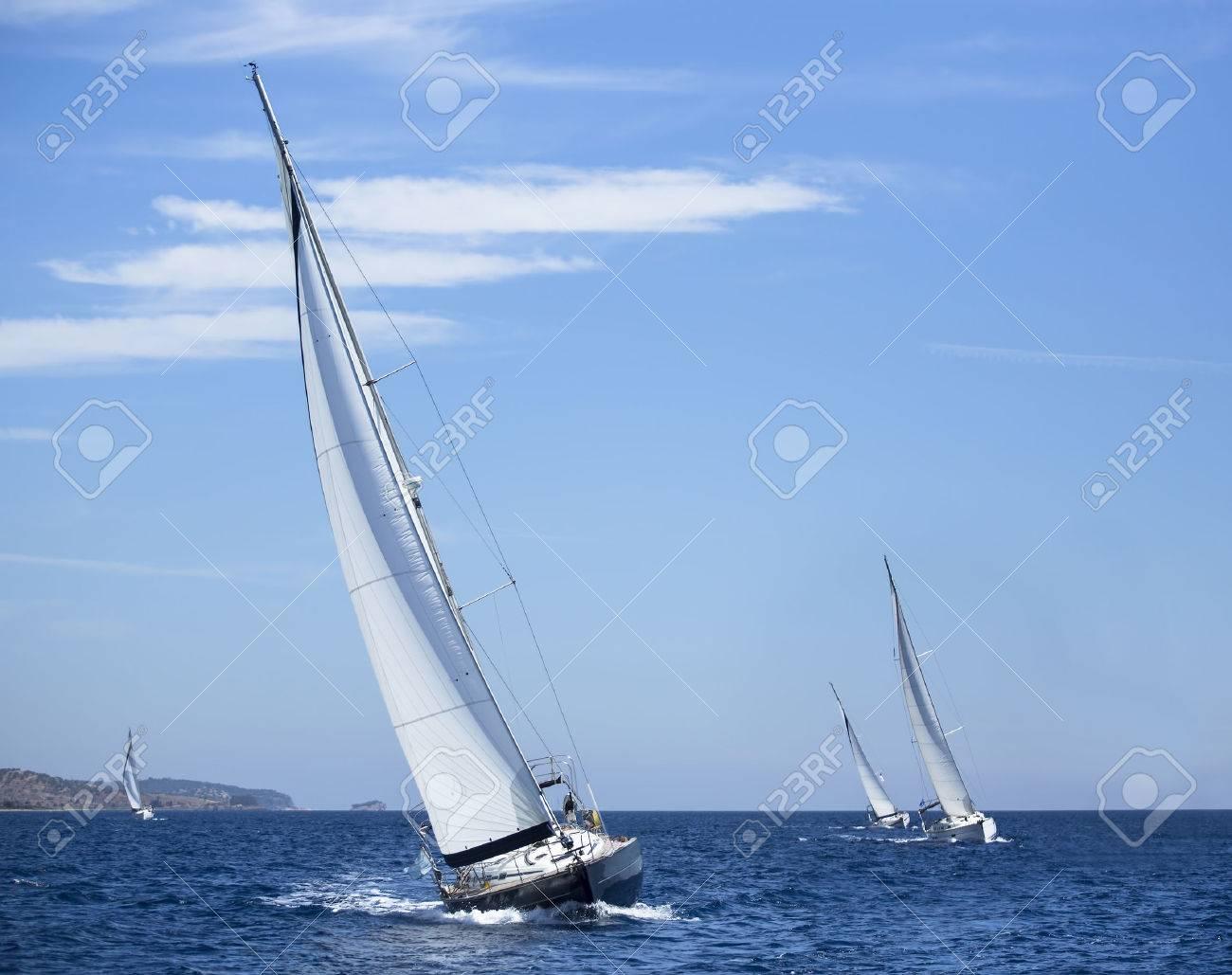 Boats in sailing regatta. Yachting. Luxury yachts. - 39381792