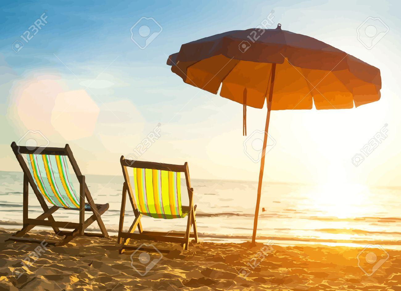 Beach loungers on deserted coast sea at sunrise. Vector illustration. - 40447093