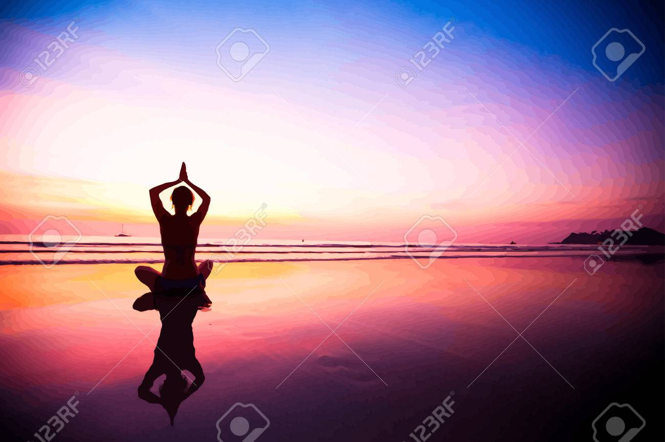 Silhouette of a woman meditating on the beach at sunset. Vector illustrations. - 40348449