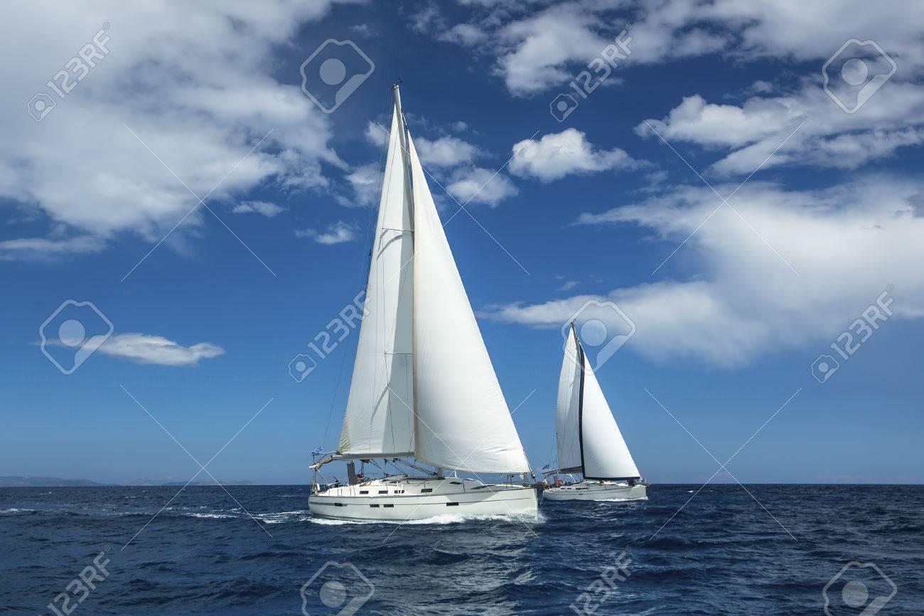 Sailing at the Aegean Sea in Greece. Sailing regatta. Luxury yachts. - 41666508