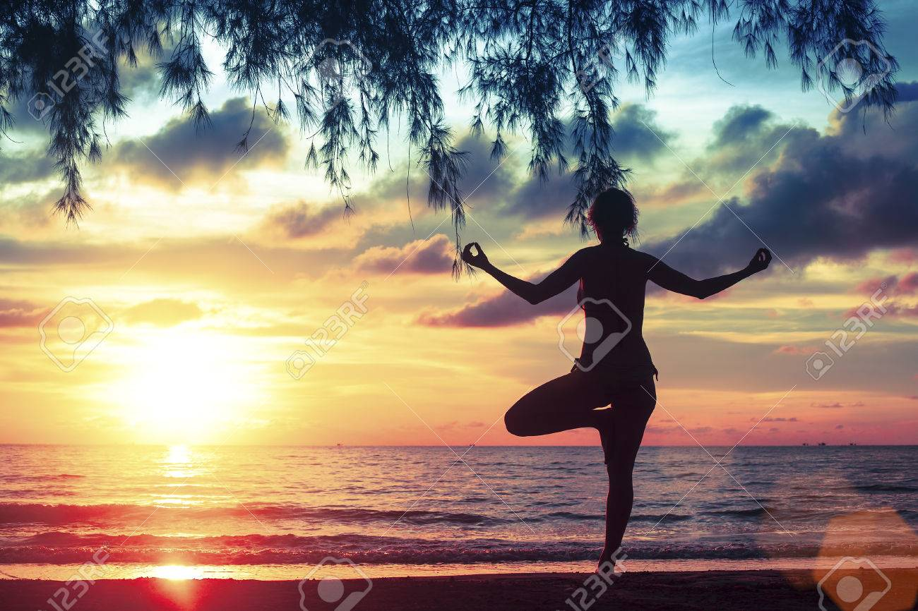 Yoga And Healthy Lifestyle Silhouette Meditation Girl On The Stock Photo Picture And Royalty Free Image Image 47383839