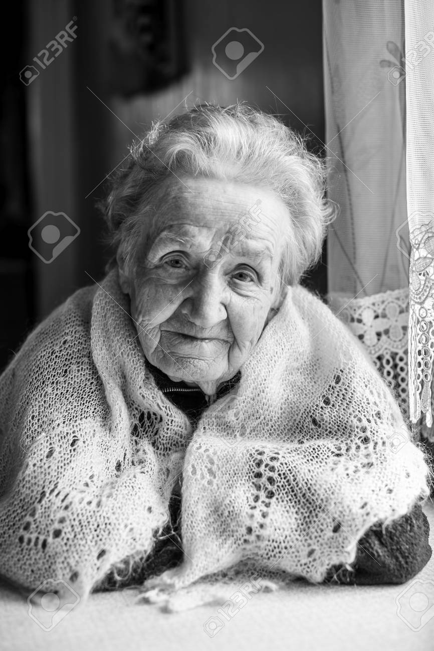 Black and white portrait of an old woman elderly stock photo 71909974