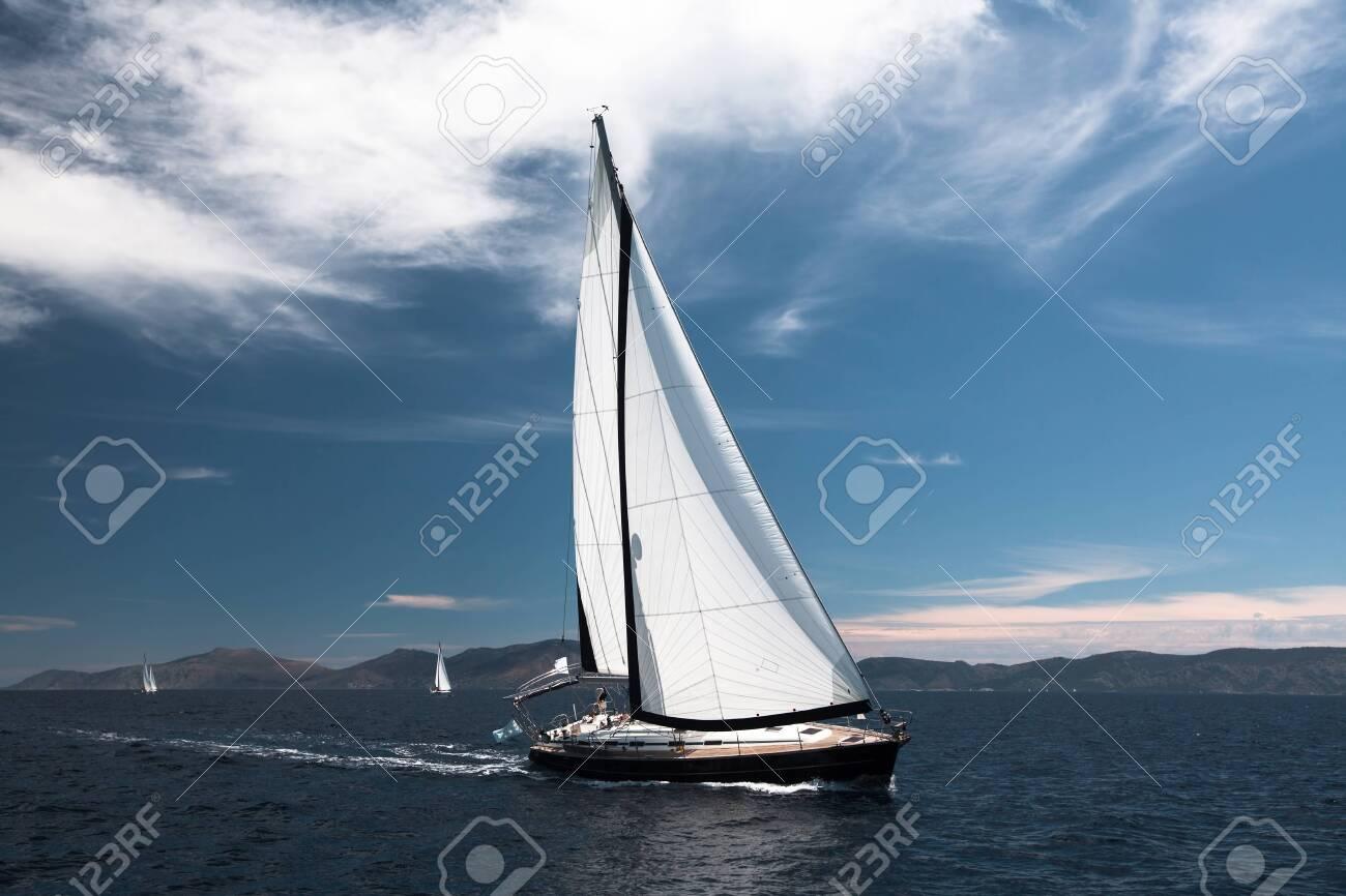 Luxury sailing. Sailboat in the regatta in the Aegean Sea. - 156363373