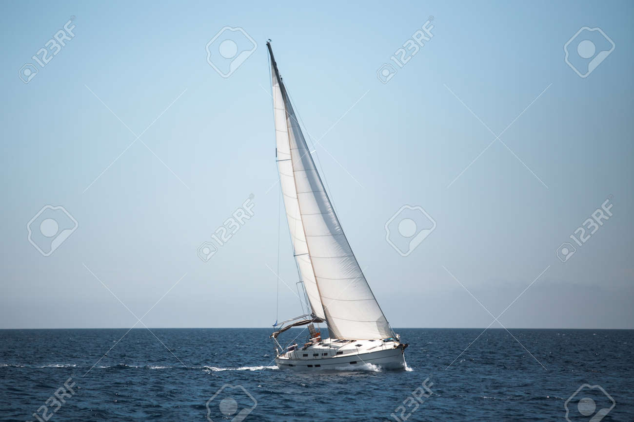 Boats in the Aegean Sea. Yachting. Luxury sailing. - 156701742