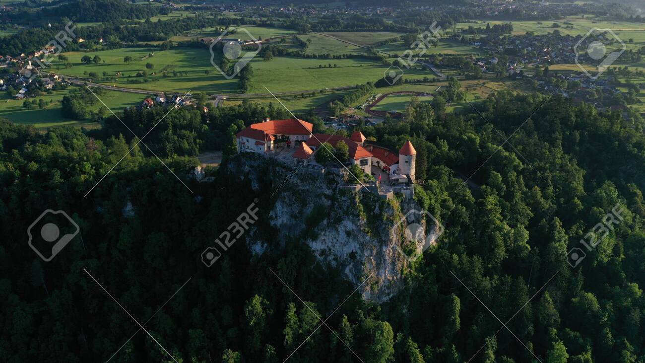 Aerial footage of Bled castle on rocky cliff, Lake Bled in Slovenia, Europe. Natural mountainous landscape around castle, green meadows and fields. Summer. - 141403415