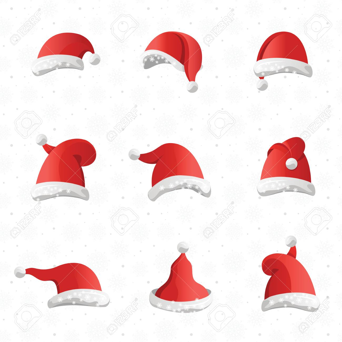 bfa422e1a0e Christmas various hats set in cartoon style on white background. Collection  of Santa Claus headwears