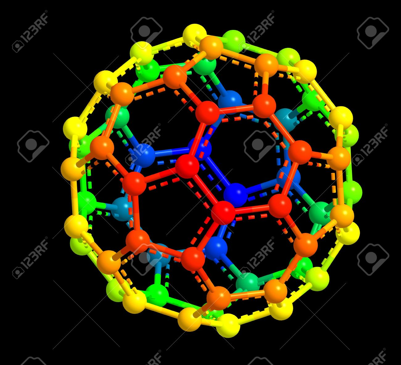 3d model of fullerene molecular structure