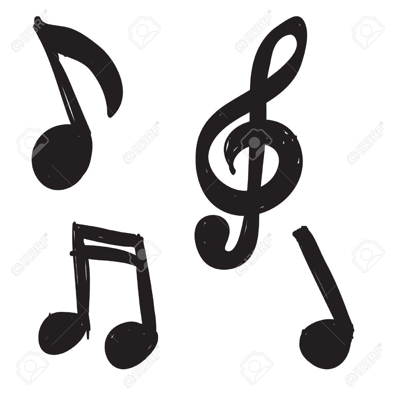 Super Ensemble De Notes De Musique Dessinés à La Main Clip Art Libres De  ZO72