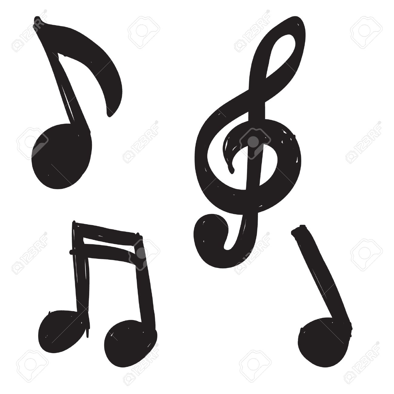 Set Of Hand Drawn Music Notes Royalty Free Cliparts Vectors And