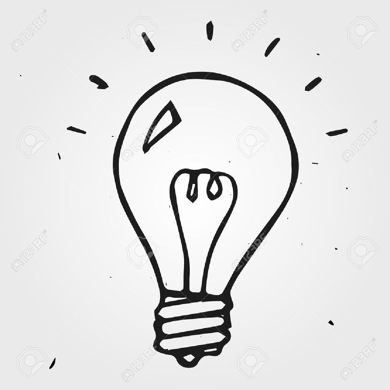 Light Bulb Hand Drawn, Doodle Icon Royalty Free Cliparts, Vectors ... for Lamp Bulb Drawing  174mzq