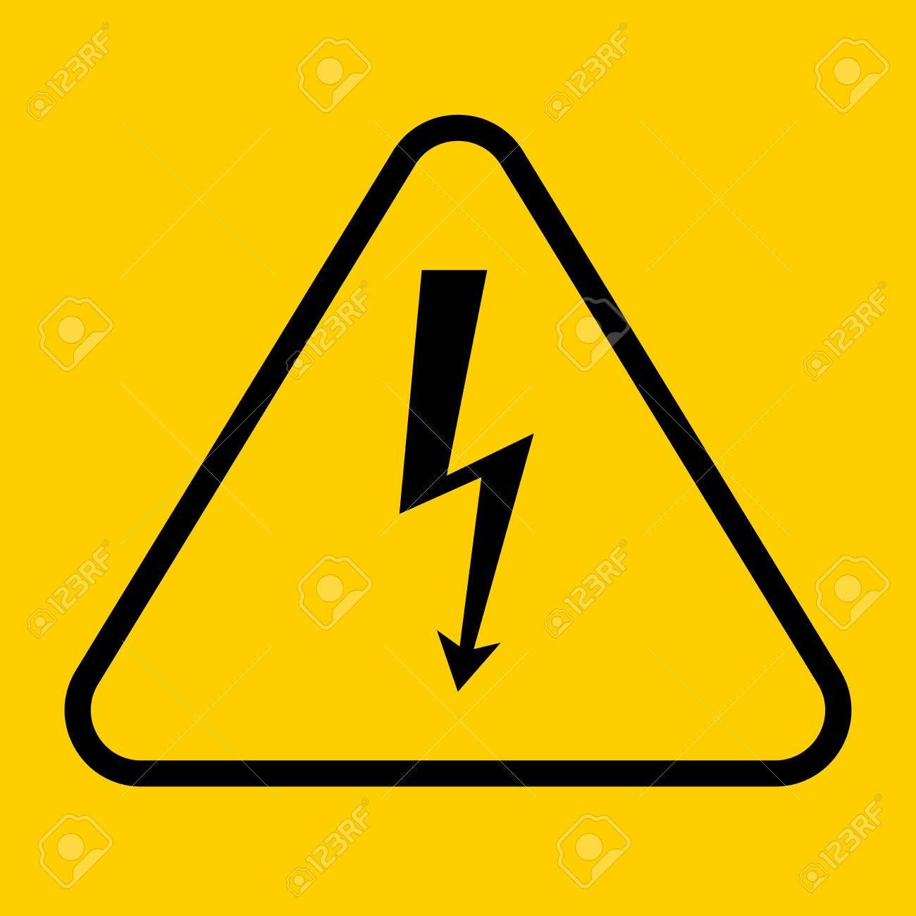 Danger Sign With Frame Vector Illustration Of High Voltage Symbol