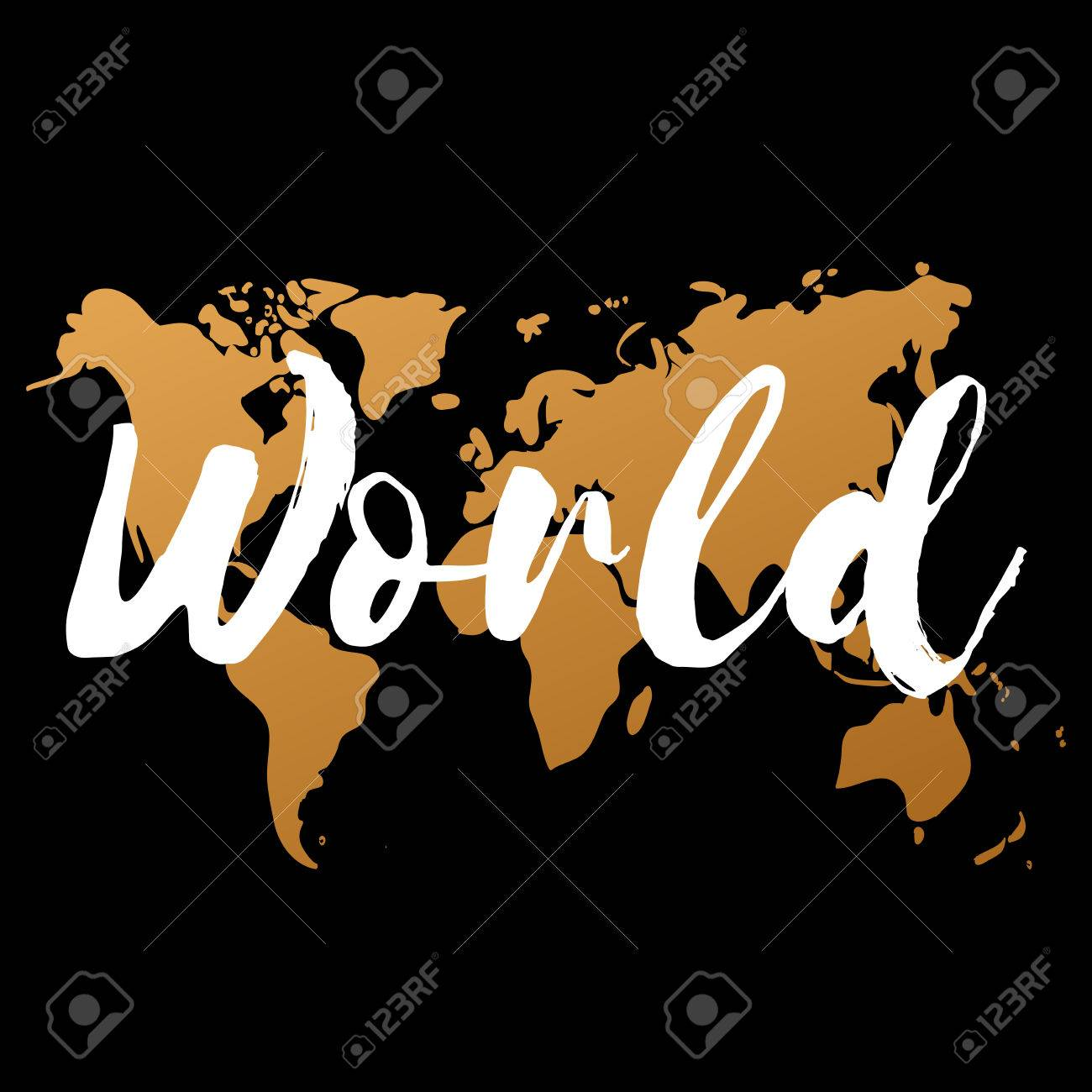 Vector Gold World Map On Black Background Doodle World Map - Black and gold world map