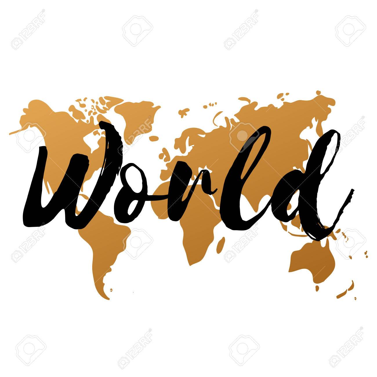 Vector gold world map on white background doodle world map vector gold world map on white background doodle world map vector world gold sciox Gallery