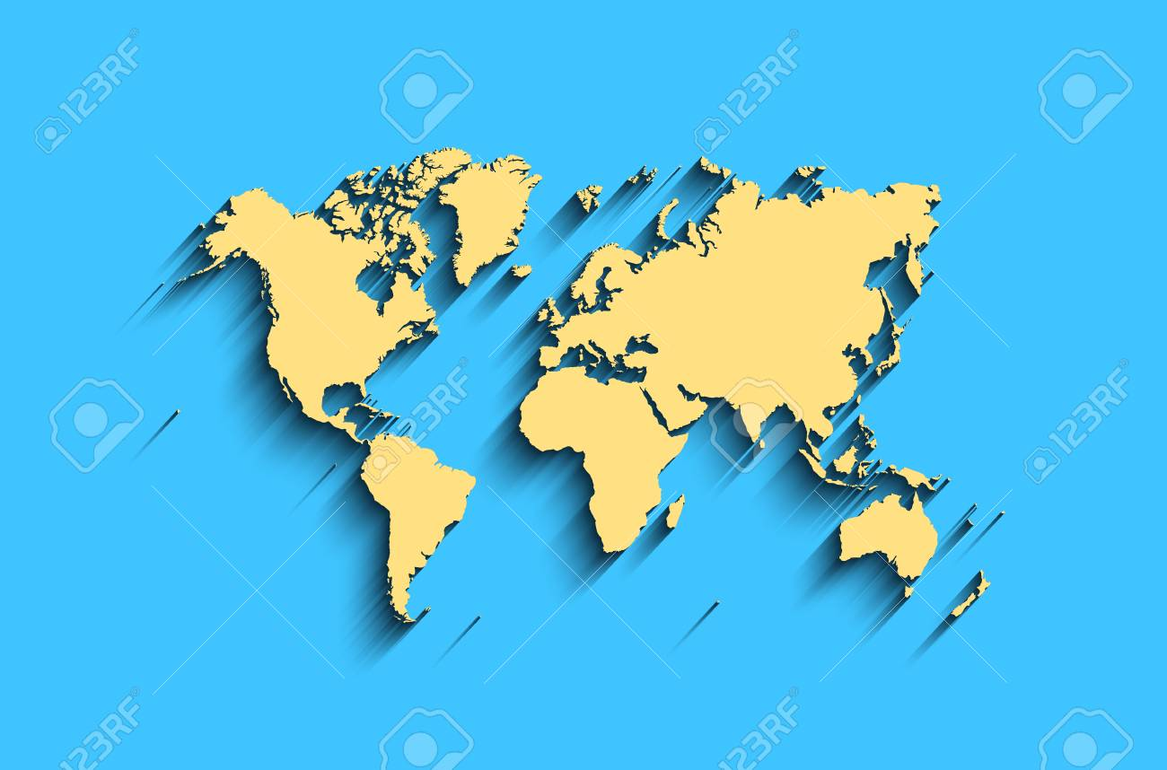 High Quality Flat World Map. Abstract Vector Background For Wallpaper, Banner. Design  Concept. Clearly