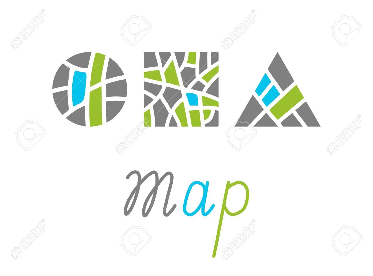 Set Of City Map Creative Symbol Concept Flat Maze Logo Design