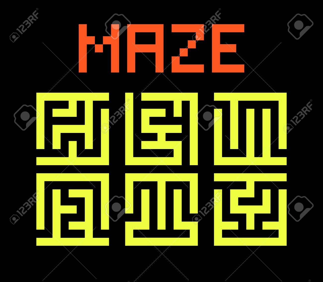 Set logos labyrinths  Vector modern maze symbol  Collection of