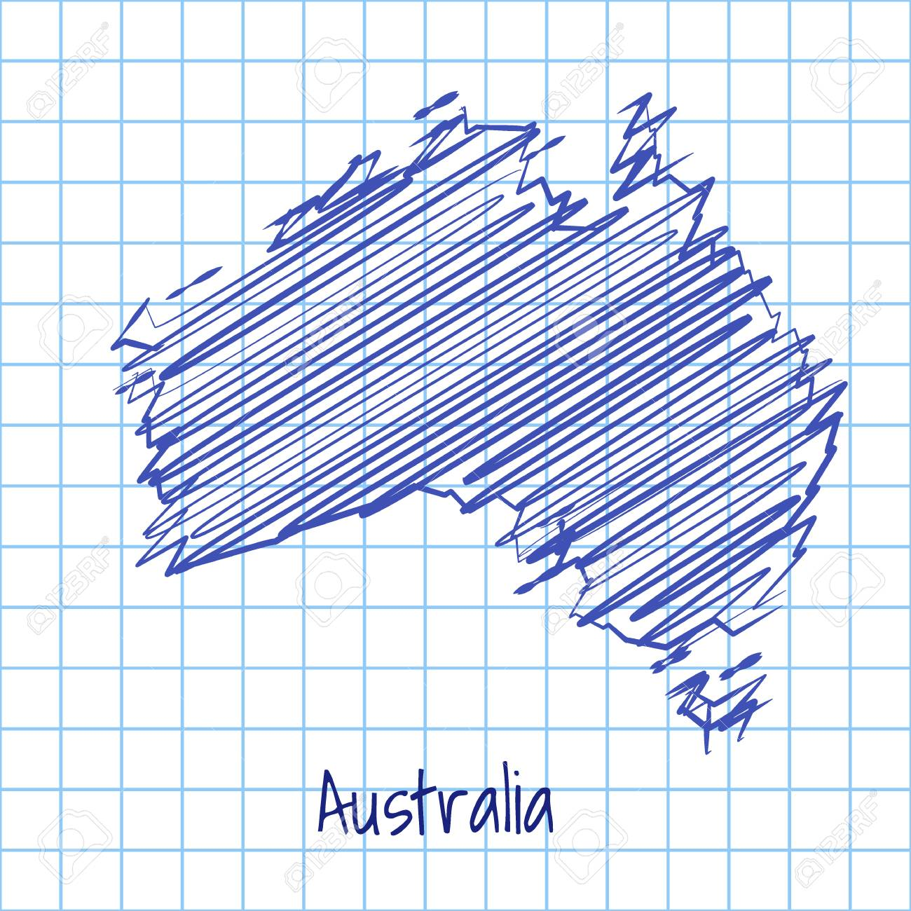 Australia Map Grid.Map Of Australia Blue Sketch Abstract Background The Hand Drawn