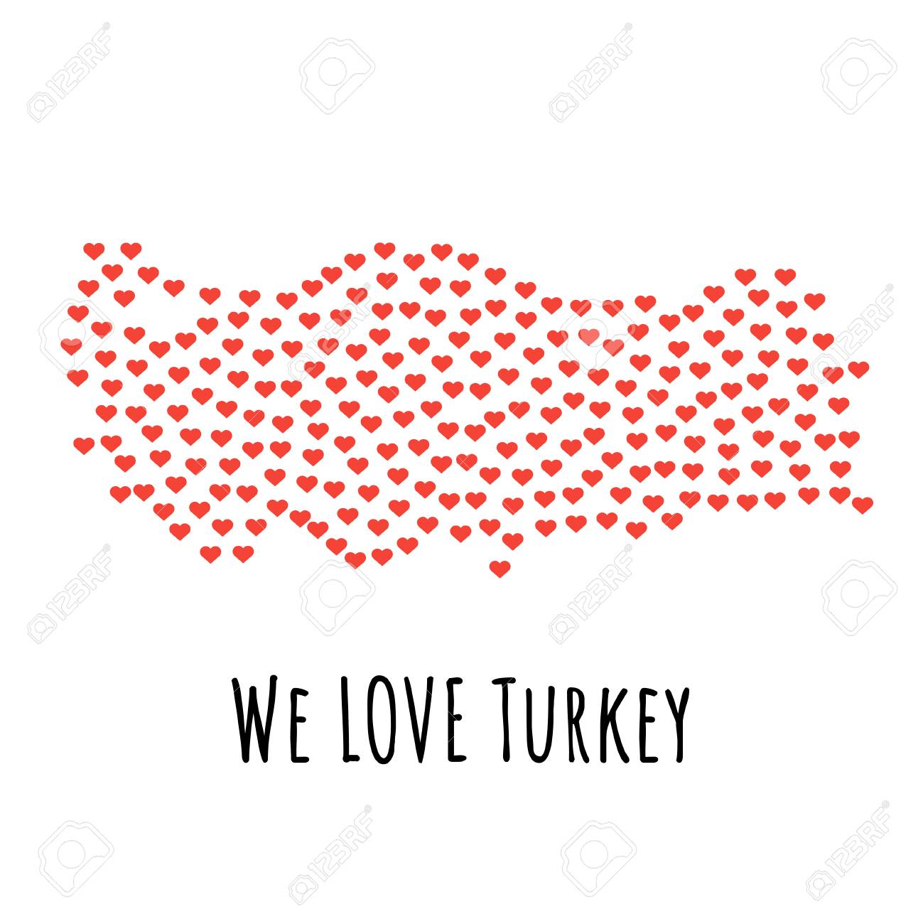 Turkey Map With Red Hearts- Symbol Of Love. Abstract Background ...