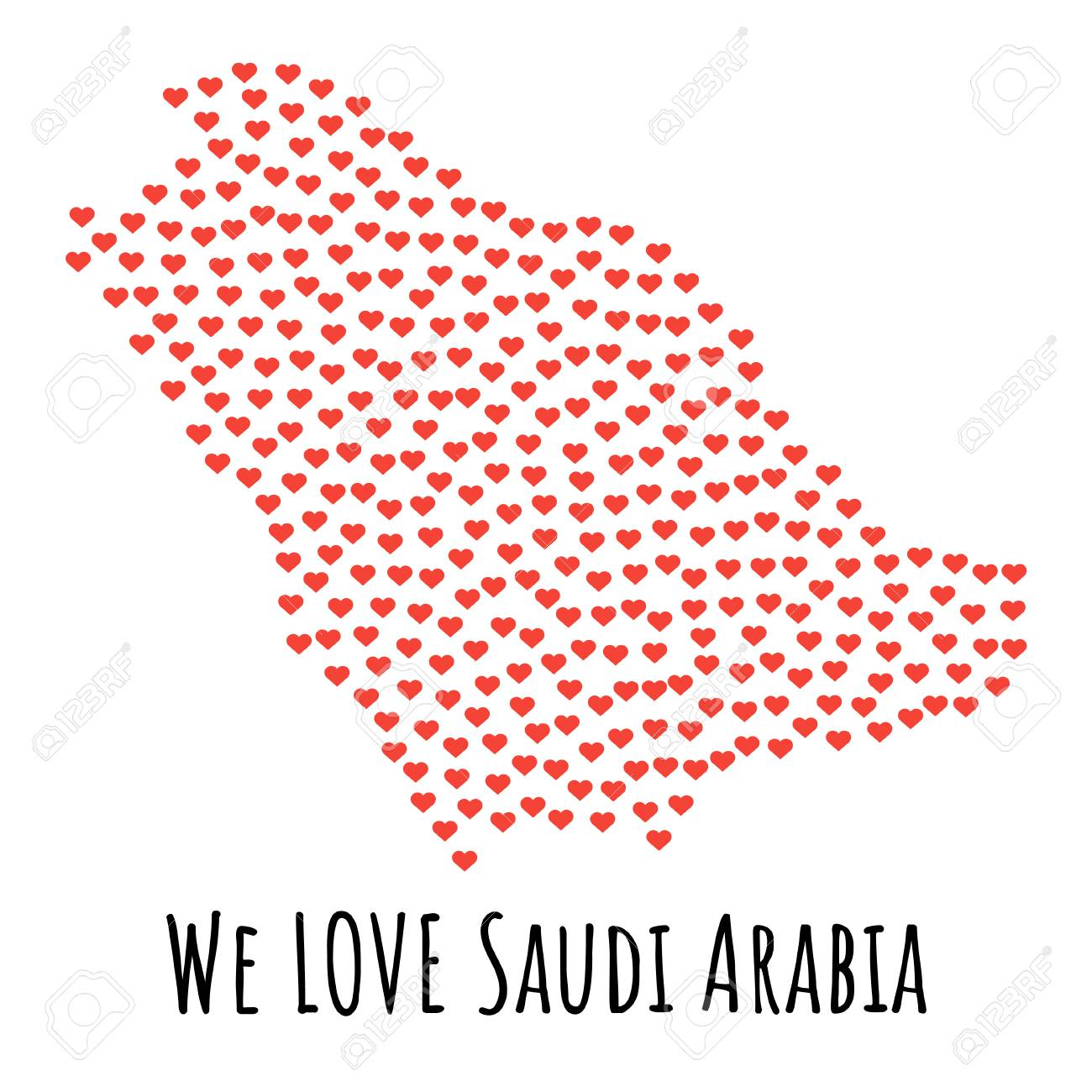 Saudi Arabia Map With Red Hearts Symbol Of Love Abstract
