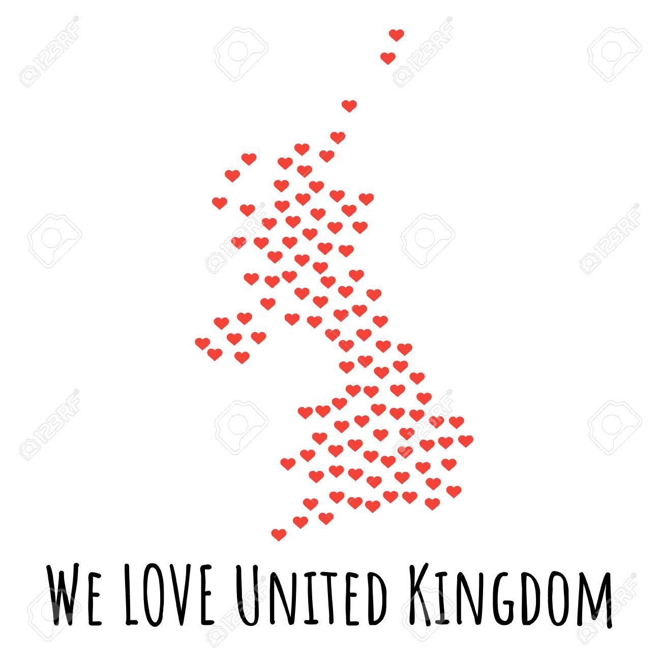 United Kingdom Map With Red Hearts Symbol Of Love Abstract