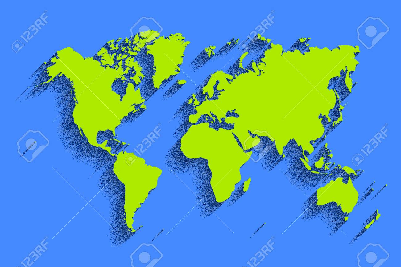 World Map Vector Blue Color Background With Shadow Royalty Free - World map in blue color