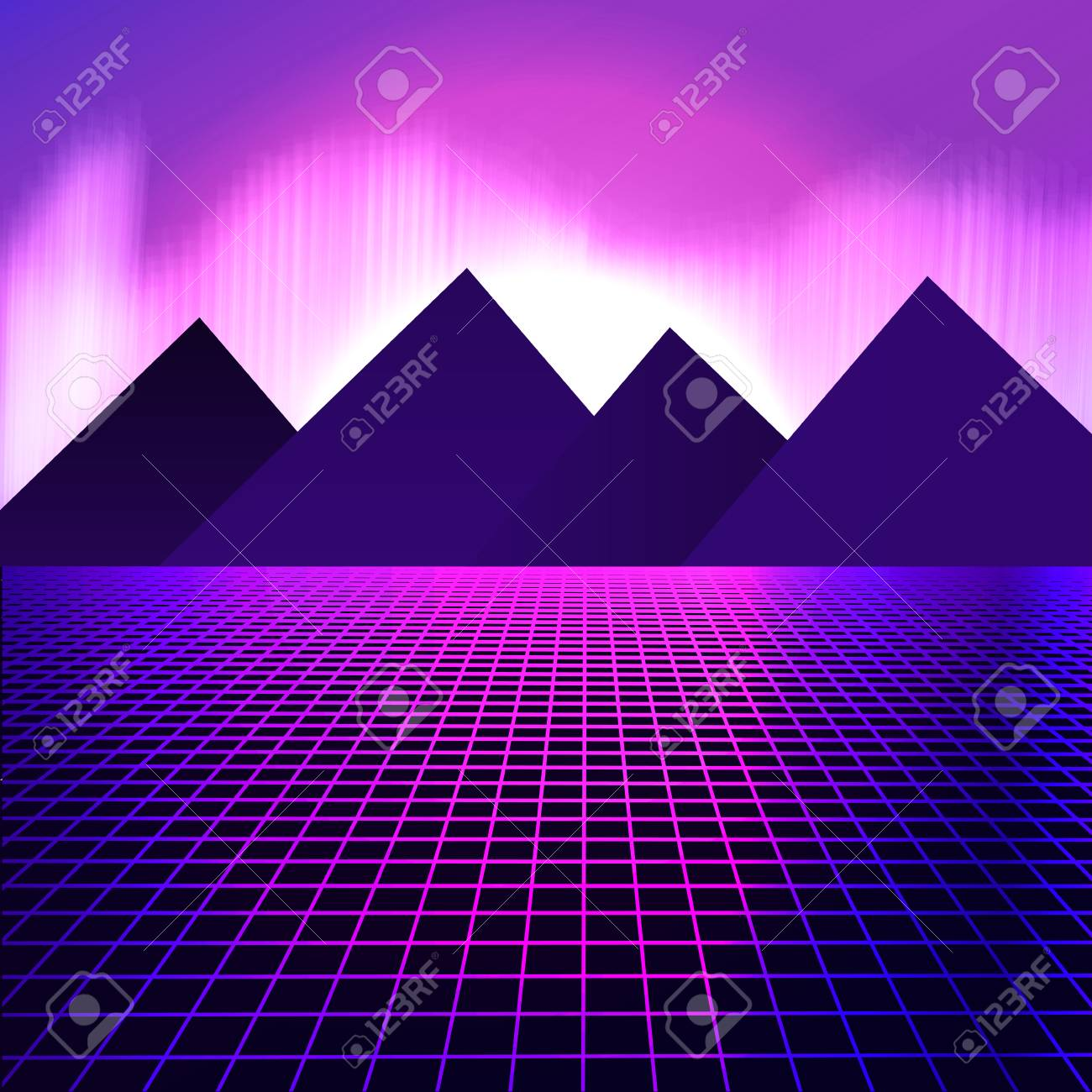 mountains on a background of pink neon lights vector illustration