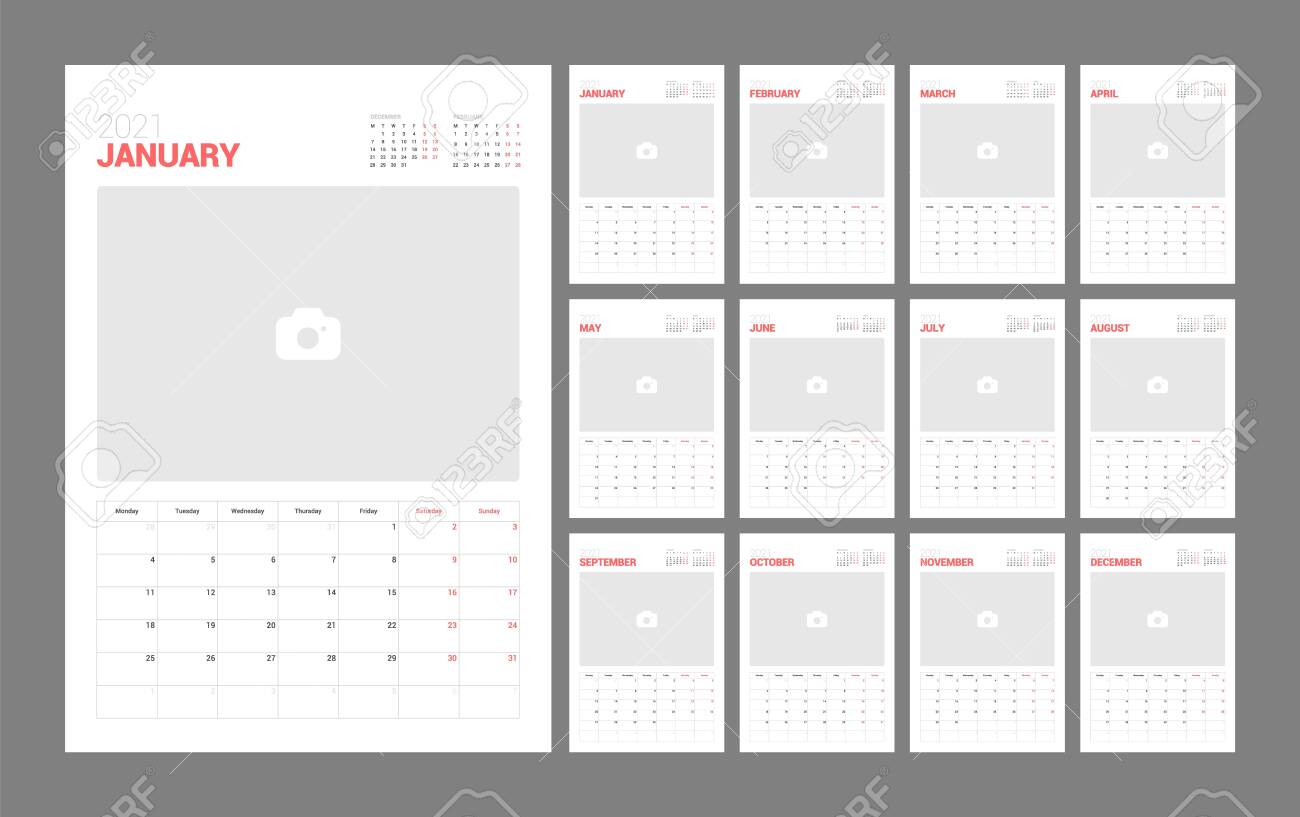 Wall calendar template for 2021 year. Planner diary in a minimalist style with Place for Photo. Week Starts on Monday. Monthly calendar ready for print. - 145487315