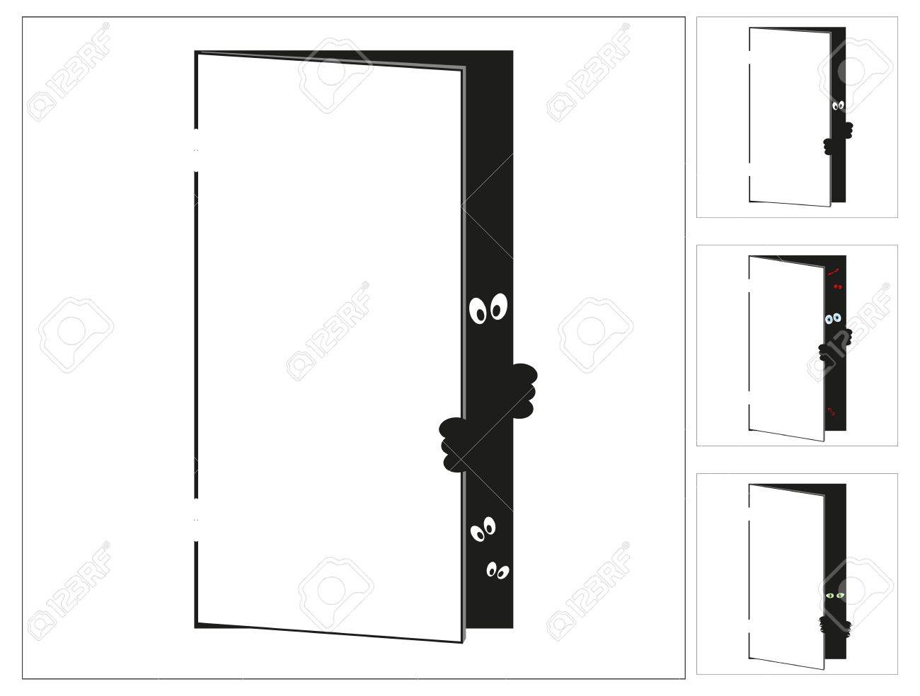 door with the monster Stock Vector - 16830288