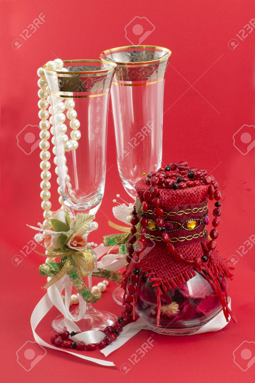 wineglass isolated on red background Stock Photo - 17408423